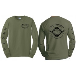 Hook's Long Sleeve Logo T-Shirt - Military Green